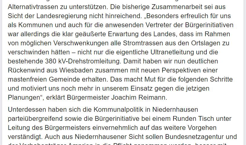 Screenshot Facebook Beitrag der Gemeinde Niedernhausen